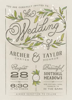 Whimsical spring wedding floral invitation design. Delicate garland illustration. Available on Minted.com and by Minted artist, GeekInk Design.
