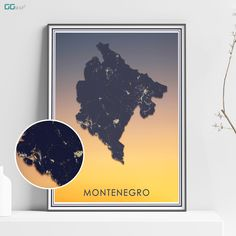 MONTENEGRO map - Montenegro sunset map - Crna Gora map - Home Decor - Wall decor - Office map - Hrvatska gift - GeoGIS studio Office Wall Decor, Wall Art Decor, Montenegro Map, New York City Map, Map Shop, Country Maps, Skyline Art, Custom Map, All Poster
