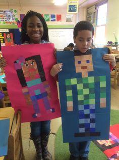 Minecraft Self Portraits! Art Projects For Adults, Toddler Art Projects, School Art Projects, Minecraft Kunst, Middle School Art, High School, School Life, 5th Grade Art, Ecole Art