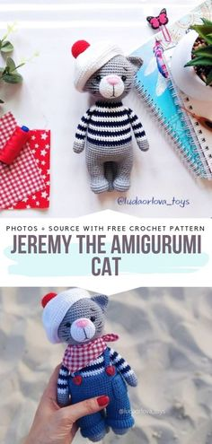 Cute Amigurumi Cats Free Crochet Patterns - Free Crochet Patterns : Jeremy the Amigurumi Cat Free Crochet Pattern Jeremy is an adorable cat with proud features. Crochet his trousers and a hat so he can be a stylish companion for you or your children. Crochet Cat Pattern, Crochet Dolls Free Patterns, Amigurumi Patterns, Chat Crochet, Crochet Toys, Free Crochet, Crochet Birds, Crochet Bear, Knitted Dolls