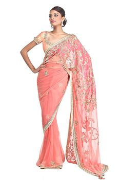 Satya Paul A coral net patchwork ornamental saree adorned with delicate gota , zardozi work , highlighted with cutdana, sequins and stones