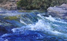 Spring Runoff by Sheri Farabaugh Oil ~ 30 x 48 Watercolor Landscape, Landscape Art, Landscape Paintings, Water Pictures, Art Pictures, Painting Competition, Boat Painting, Water Art, Fantasy Paintings