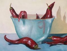 Dragon's Den - Lynn Cyr, fine artist (oil painting of red chili peppers and bowl)