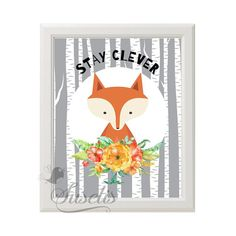 Stay Clever Woodland Fox Watercolor Flowers Printable by Suselis