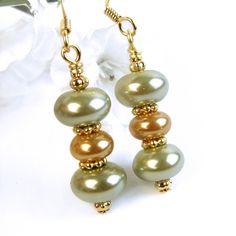 Green and Gold Pearl Earrings Handmade Elegant Dangles Beaded Jewelry | PrettyGonzo - Jewelry on ArtFire