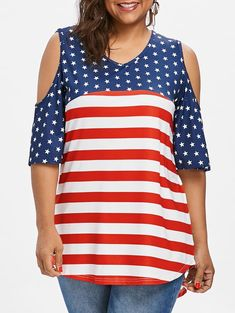 aacf8e701c79c Plus Size Patriotic American Flag Cold Shoulder T-shirt - RED