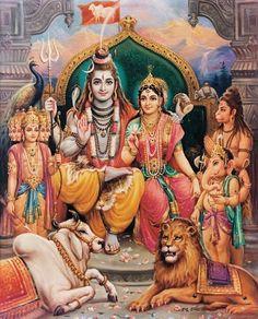 Shiva Parivar with Hanuman Kartikeya Ganesh Shiv ji Names Lord Shiva Names, Lord Shiva Pics, Lord Shiva Hd Images, Lord Shiva Family, Lord Vishnu Wallpapers, Shiva Parvati Images, Shiva Hindu, Shiva Art, Hindu Deities