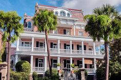 Charleston, South Carolina :: Built for businessman Samuel Stevens in 1843, this antebellum mansion ranks among the city's best-known homes. Column-lined porches distinguish the dwelling, which is composed of brick and pink stucco and capped with a mansard roof...