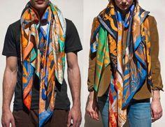 mm paris x kanye x george condo scarf Mm Paris, Scarf Packaging, Altering Clothes, Silk Scarves, Urban Fashion, Diy Fashion, Sweater Weather, Kanye West, Scarf Styles