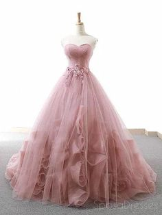 Pink Ball Gown Sweetheart Tulle Applique Wedding Dress – … – New Ideas – Wedding Gown Blush Prom Dress, Pretty Prom Dresses, Sweet 16 Dresses, Tulle Prom Dress, Ball Gown Dresses, Beautiful Dresses, Formal Dresses, Pink Ball Gowns, 15 Dresses