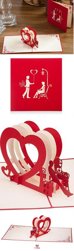 Say I love you with an intricate laser cut pop up card of a perfect first date. #ValentinesDay