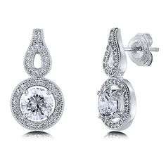 Sterling Silver Round Cubic Zirconia CZ Halo Women Fashion Stud Earrings available at joyfulcrown.com