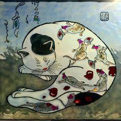 "Andreea Opris on Instagram: ""#monmoncats inspired #kazuakihoritomo inspired #windowpainting #windowcolors #stainedglass #stainedglasswindow #stainedglasswindows…"" Stained Glass Windows, Interiors, Inspired, Painting, Fictional Characters, Color, Instagram, Art, Art Background"