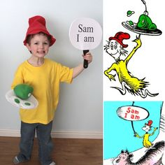 it's always autumn - itsalwaysautumn - green eggs & ham costume (Dr Seuss day) Easy and adorable Green Eggs and Ham costume! This is a quick, easy costume you can make for Dr. Suess day featuring Sam I Am from Green Eggs and Ham. Story Book Costumes, Storybook Character Costumes, World Book Day Costumes, Storybook Characters, Easy Book Week Costumes, Dr Seuss Costumes, Teacher Costumes, Boy Costumes, Green Costumes