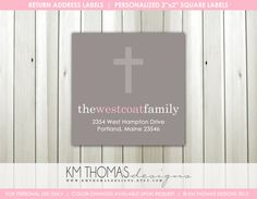 Baptism Return Address Labels : Christening Return Address Labels - Religious Theme Return Address Label - Square Label - R102 by KMThomasDesigns on Etsy