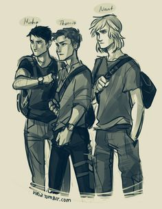viria: some of my new found babies from the maze runner uwu I am not sure about Newt though, but I can't see him with longer hair falling on his shirt for some reason