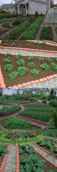 Pattern intéressant: suite au cercle central, bandes triangulaire jusqu'au fond du jardin; de la cour.