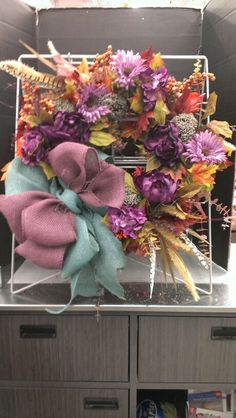 Lavender and Blue Burlap Bow Fall Wreath.. Robin Evans
