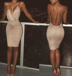 Nude V Neck Dress - Awesome World - Online Store Sexy Dresses, Cute Dresses, Beautiful Dresses, Short Dresses, Fashion Dresses, Mode Outfits, Night Outfits, Classy Outfits, Dress Outfits