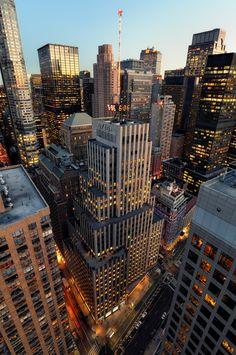 Atardecer sobre el centro de Manhattan   Nueva York