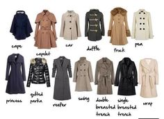 Different types of coats
