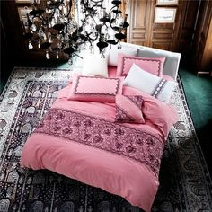 Luxury 100% Cotton Embroidered King or Queen 4 PC Bedding Sets 3 Colors