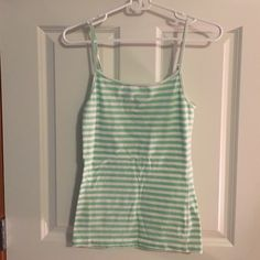Stripe Lilu Tank White and mint green striped Lilu tank with adjustable straps. Gently used. Lilu Tops Tank Tops