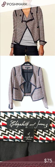 Elizabeth and James cropped jacket Elizabeth and James beautiful patterned crop jacket Elizabeth and James Jackets & Coats Blazers