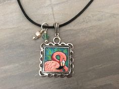 Flamingo Necklace, hand painted, one of the kind piece of wearable art, miniature painting, metal bezel, metal chain, glass beads