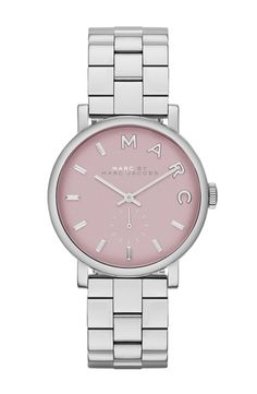 MARC by Marc Jacobs 'Small Baker' Bracelet Watch, 28mm Silver/ Hazy Rose from Nordstrom on shop.CatalogSpree.com, your personal digital mall.