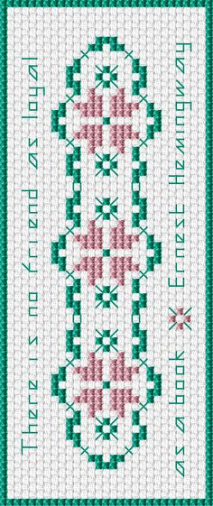 Hemingway Bookmark free cross stitch pattern