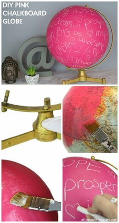 DIY Teen Room Decor Ideas for Girls | DIY Pink Chalkboard Globe | Cool Bedroom Decor, Wall Art & Signs, Crafts, Bedding, Fun Do It Yourself Projects and Room Ideas for Small Spaces diyprojectsfortee…