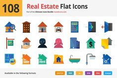 108 Real Estate Flat Icons by roundicons.com on @creativemarket