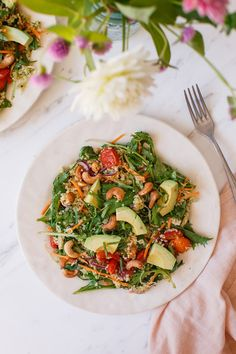 A superfoods quinoa salad with avocado and toasted cashews. Add a vegan Green Goddess dressing and some quick meals, and you've got one plant-based meal. #quinoasalad #plantbased #vegansalad #vegetariansalad #glutenfreesalad #vegandressing #greengoddessdressing #quickpickles #easyvegandinner #easyvegansalad #AscensionKitchen