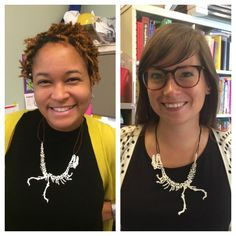 3D Printing Programs for Kids. Krishna Grady and Amy Laughlin craft dinosaur necklaces from a 3D printer.