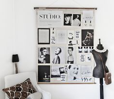 How to decorate a wall with photos and magazine pages