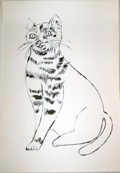 Andy Warhol - Sam (black and white).  Andy Warhol (1923 – 1987) loved cats, creating numerous paintings of them until he began his Pop Art series of soup cans, Coke bottles and Marilyn Monroe silkscreens. As a cat owner, he published a book of 25 cat portraits in which all but one of the felines were named Sam. The artworks were based on the images of famed cat photographer Walter Chandoha, rather than Warhol's own felines.