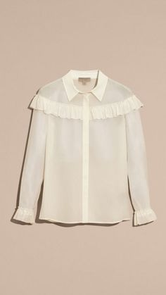Natural white Frill Detail Silk Crepe De Chine Shirt 4