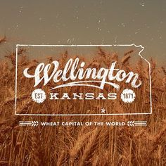 "Another example of photography used in logo designed, this time a close up of a golden brown wheat field ready for harvest. The aim to advertise Wellington, with the swishing cursive and wheat stalk forming out of the ""g"". All of the vector elements are in white to contrast with the background including an outline of the state of Kansas. The bottom tag line is a nice sell but could be a little larger."