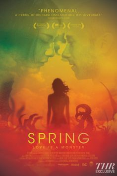 Co-directors Justin Benson and Aaron Moorhead's Spring (2014) received some really good reviews and now they just released a new movie poster for the movie thanks to Drafthouse Films. Look for Spring in US movie theaters and on VOD this upcoming March 20, 2015. Spring stars Lou Taylor Pucci, Nadia Hilker, Vanessa Bednar and I suggest you mark this date on your calendar.