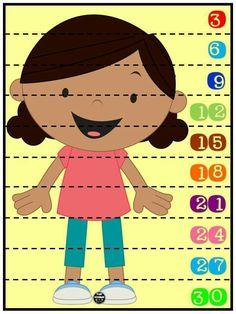 Rompecabezas numéricos para niños. Conteo de 3 en 3. Plastificar y recortar por la línea punteada.