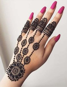 Explore latest Mehndi Designs images in 2019 on Happy Shappy. Mehendi design is also known as the heena design or henna patterns worldwide. We are here with the best mehndi designs images from worldwide. Henna Hand Designs, Eid Mehndi Designs, Rajasthani Mehndi Designs, Mehndi Designs Finger, Mehndi Designs For Girls, Mehndi Designs For Beginners, Modern Mehndi Designs, Mehndi Design Pictures, Mehndi Designs For Fingers