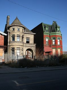 Old Victorian homes in Detroit. With some restoration, these could be beautiful.