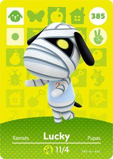 Lucky - Nintendo Animal Crossing Happy Home Designer Series 4 Amiibo Card - 385 Animal Crossing Amiibo Cards, Animal Crossing Villagers, Animal Crossing Game, Acnl Villagers, Nintendo 3ds, Nintendo Switch, Acnl Amiibo Cards, Julian More, Body Cast