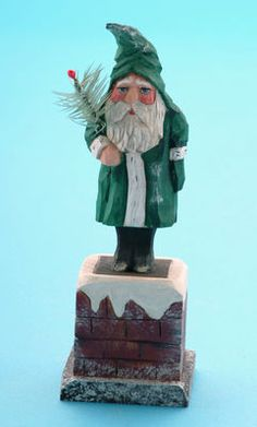 Folk art wood carvings from The Whimsical Whittler :: Belsnickle Chimney :: Christmas and Santas