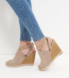 Light Brown Suedette Peep Toe Wedges    New Look