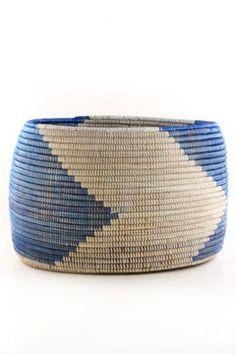 Senegalese Knitting Basket - Blue