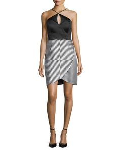 36cd8135c34 Shop Halter Combo Striped-Skirt Cocktail Dress from Phoebe Couture at  Neiman Marcus Last Call