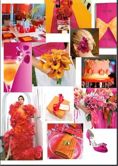 Fuschia and Tangerine orange...what do you think? :  wedding decor for sale fuschia orange tangerine Pinkorange