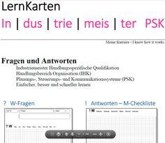 Lernkarten - Industriemeister PSK Marketing, Ebay, Author, Reading, Learning Methods, Note Cards, Project Management